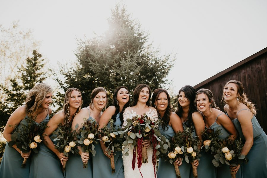 Bridal party photos DIY flowers at Rustic Acres Farm