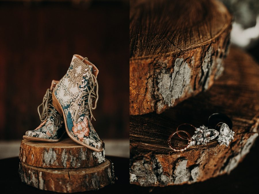 Rustic Acres Farm detail ring shot wedding boots