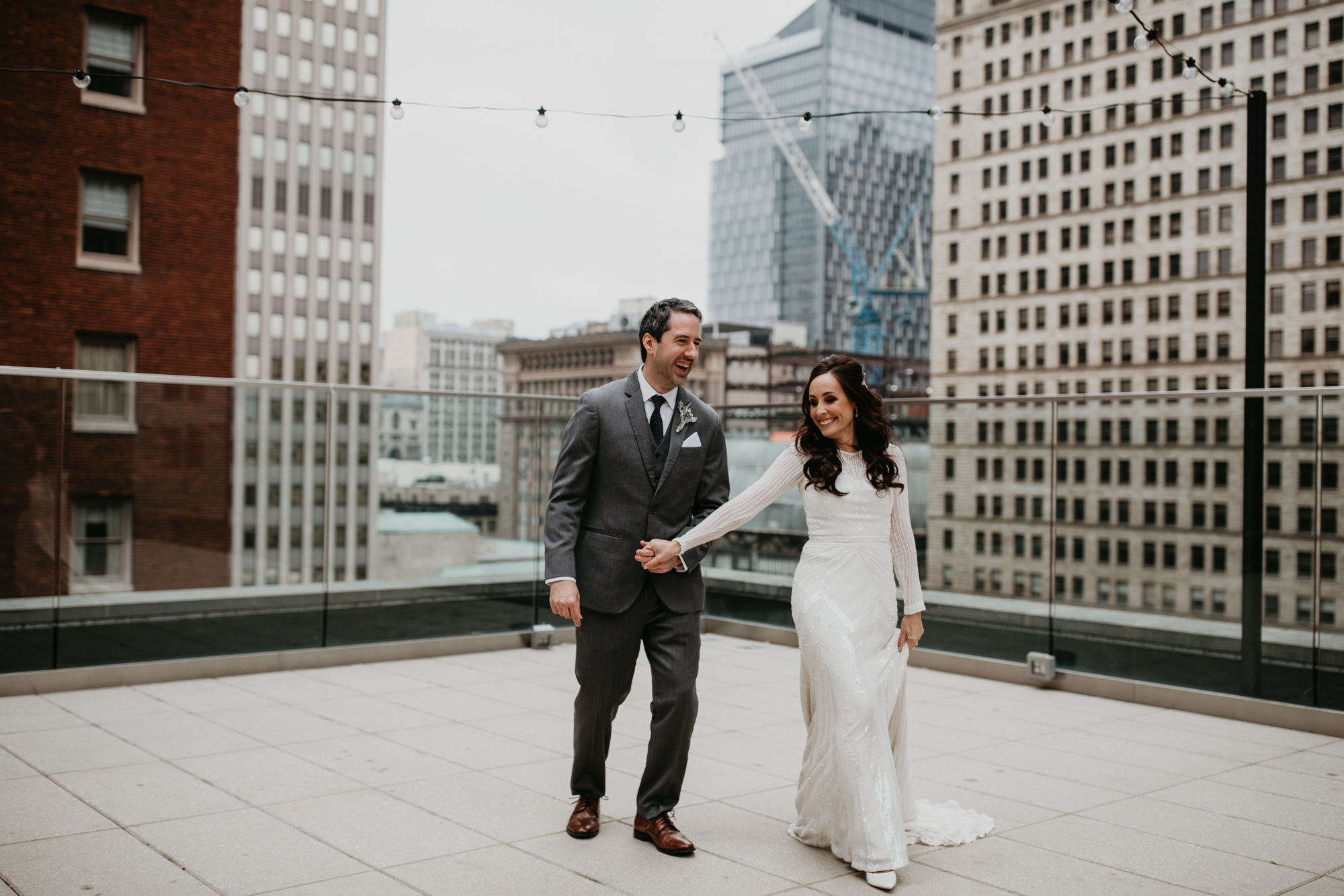 Pittsburgh wedding Photographer, December wedding in Pittsburgh, Holiday wedding, Pittsburgh wedding at SLATE, Blanc De Blanc Bridal, Hannah Conard Beauty, Simply Captivating hair, Mocha Rose floral, First look, Neutral tone bridal party, Hotel Monaco Pittsburgh, Wedding photos at Bar Marco, long sleeve gown, Indie gowns in Pittsburgh, Hair down bride, monochromatic wedding, Pittsburgh Winter Wedding, amazing wedding florals, floral installation for the aisle